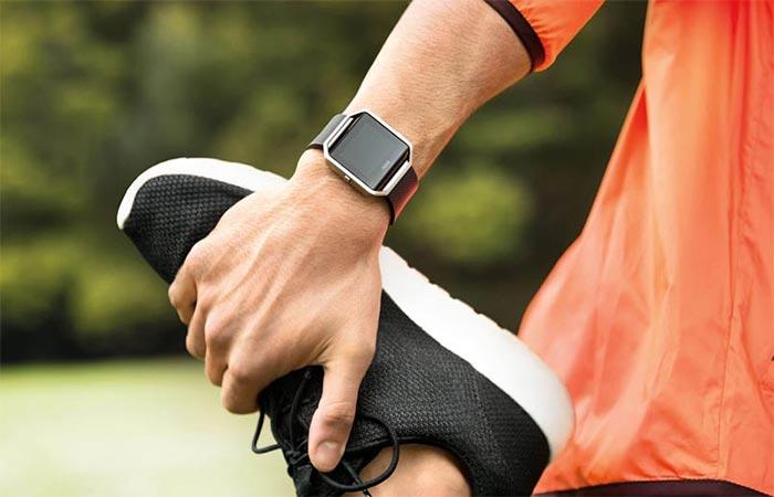 Fitbit Blaze Worn While Streching