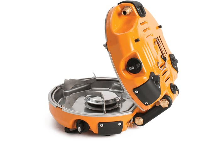 Jetboil Genesis Base Camp Stove, open, tilted side view, on a white background.