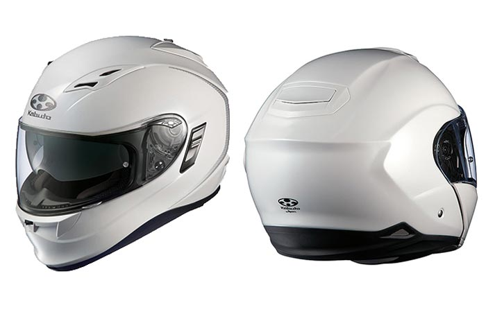 Kabuto Modular Adult Ibuki Cruiser Motorcycle Helmet, white, front and back view, tilted, on a white background.