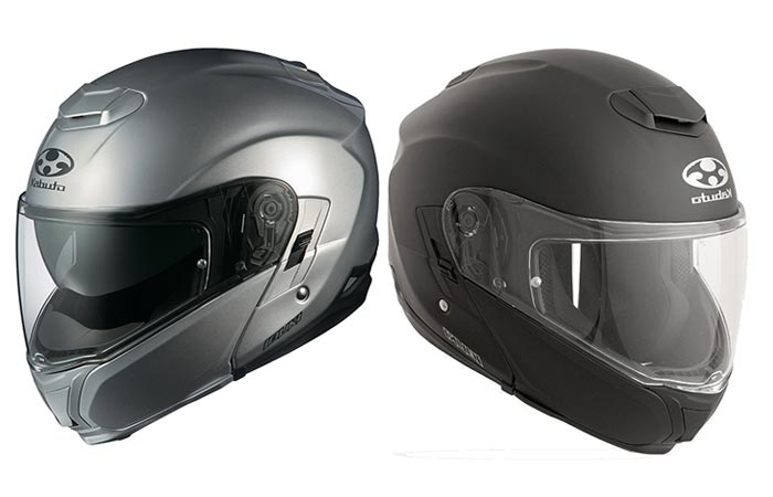 Kabuto Modular Adult Ibuki Cruiser Motorcycle Helmet, silver and black, side view, oriented in opposite directions, on a white background.
