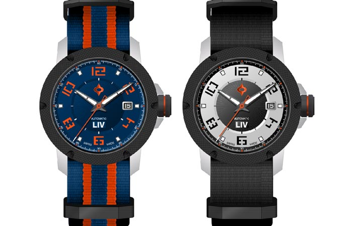 Two LIV Genesis X1A watches in blue/orange and black/silver option, on a white background.