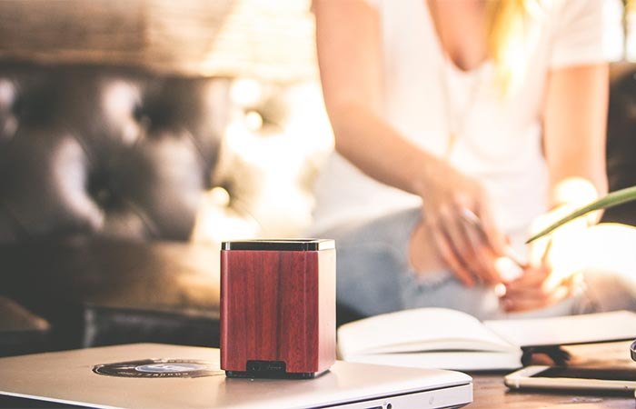 Cherry LSTN Satellite Bluetooth Speaker On A Table