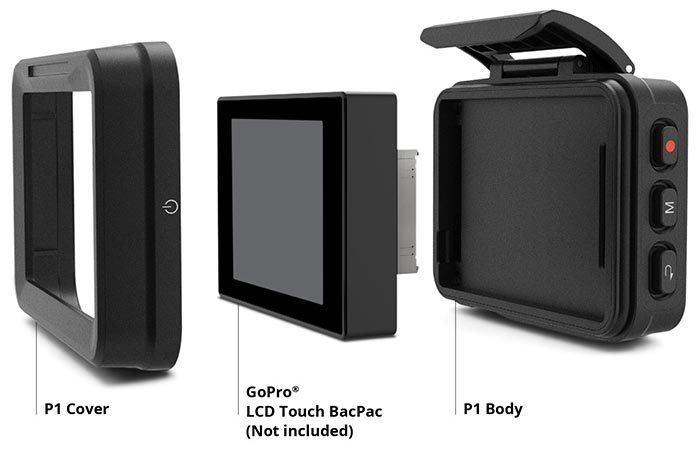 Removu P1 GoPro Live Viewer cover, LCD Touch BacPac and P1 body on a white background, with captions.