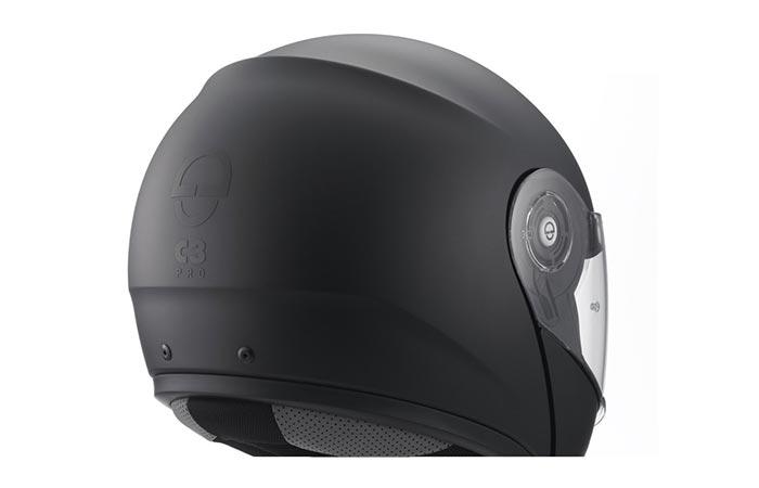 Black helmet captured from behind.