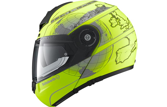 Yellow helmet with a pattern captured from the side.