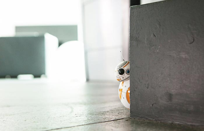 BB-8 is hiding behind the wall.