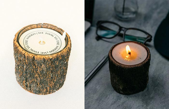 We Took To The Woods Candles Wrapped With Bark