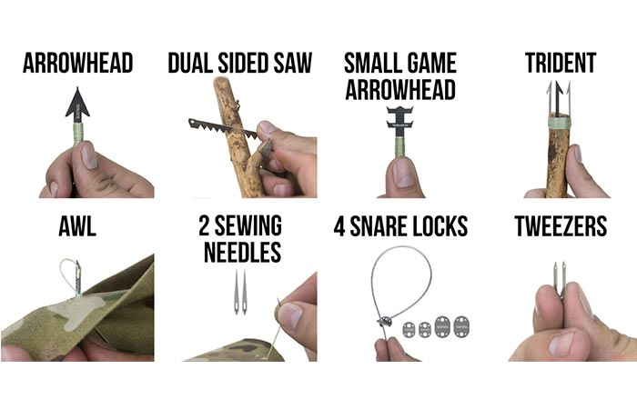 Wilderness survival card tools in use, on a white background.