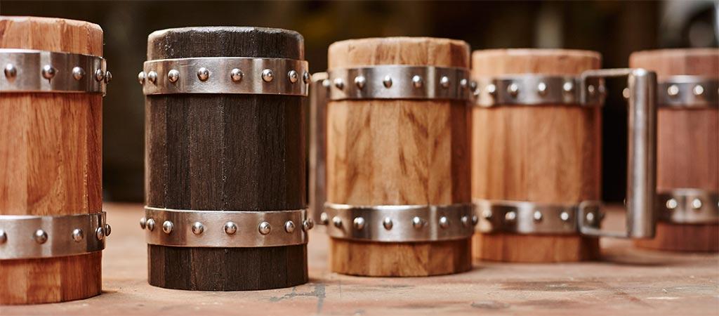 Wooden Beer Mugs By Green Shield Workshop