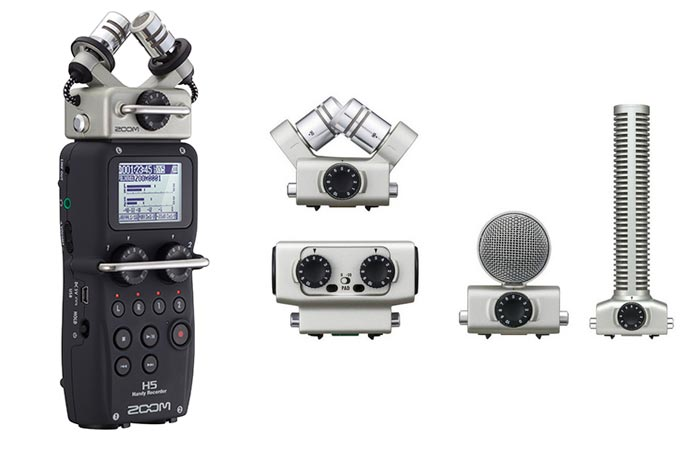 Zoom H5 Four-Track Portable Recorder with additional mics, on a white background.