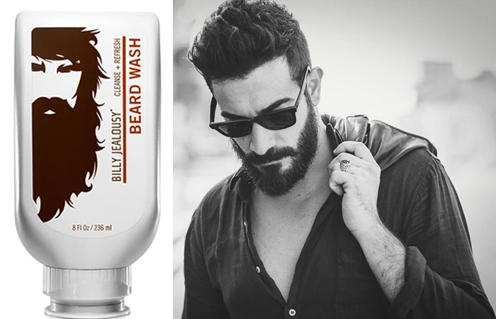 Billy Jealousy Beard Wash bottle and a black and white photo of a dark-haired bearded man in a leather jacket and wearing sunglasses.