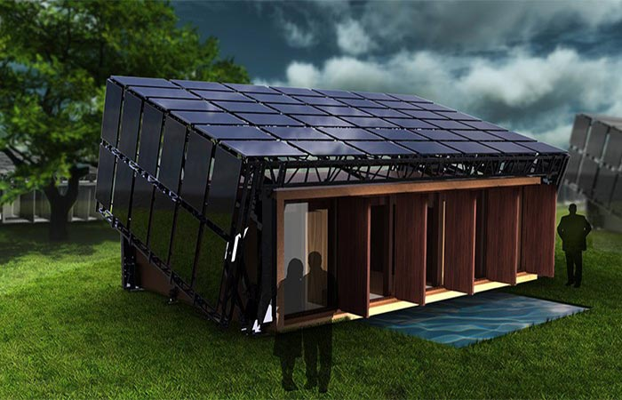 Moving House With Solar Panels On The Roof And On The Sides Of The House