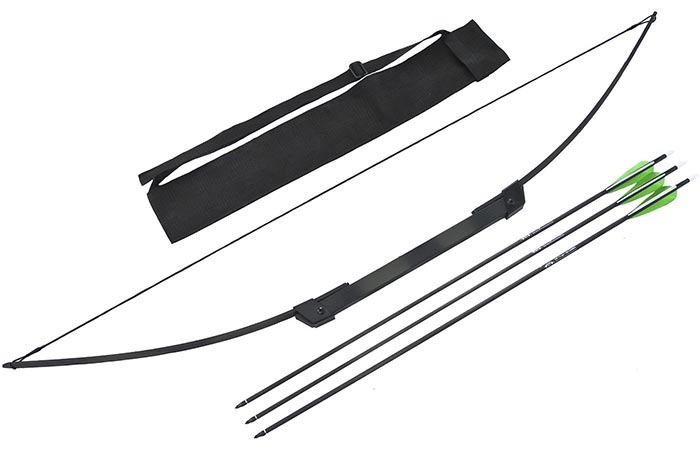 Xpectre Compact Take-Down Nomad Survival Bow with pouch and 3 arrows, diagonally oriented, on a white background.