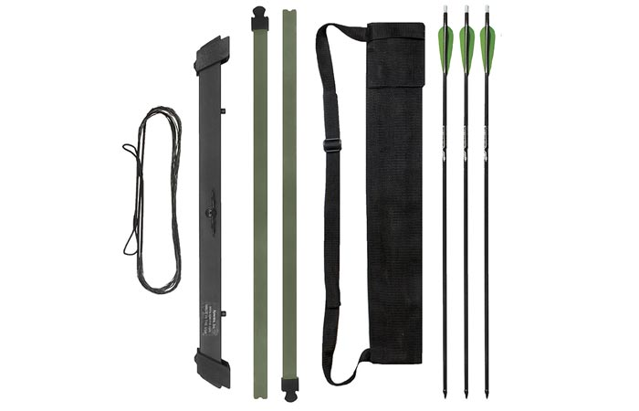 Xpectre Compact Take-Down Nomad Survival Bow, disassembled, with a pouch and 3 arrows, on a white background.