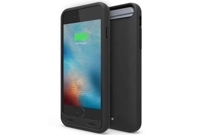 An iPhone 6 and a External Protective Charging Case for iPhone 6 / 6s, black, tilted, on a white background.