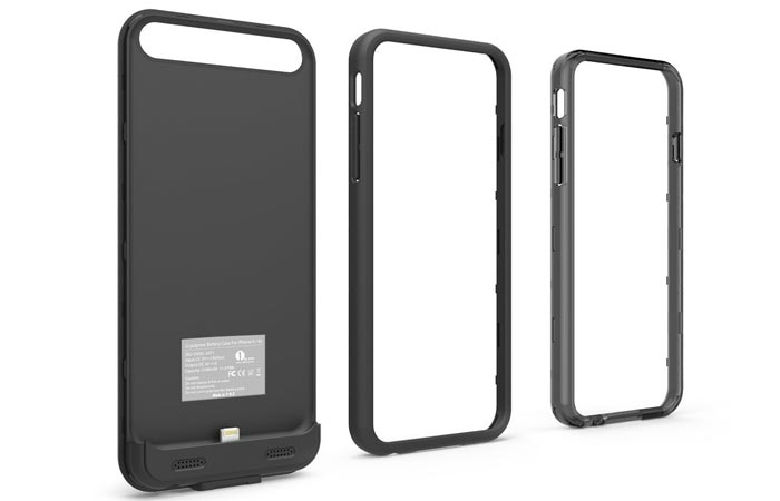 External Protective Charging Case for iPhone 6 / 6s, black, disassembled and tilted on a white background.