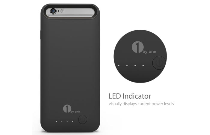 External Protective Charging Case for iPhone 6 / 6s, black, back view, and a LED indicator with a caption underneath, on a white background.