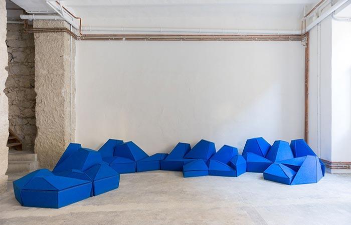 Blue furniture assembled.