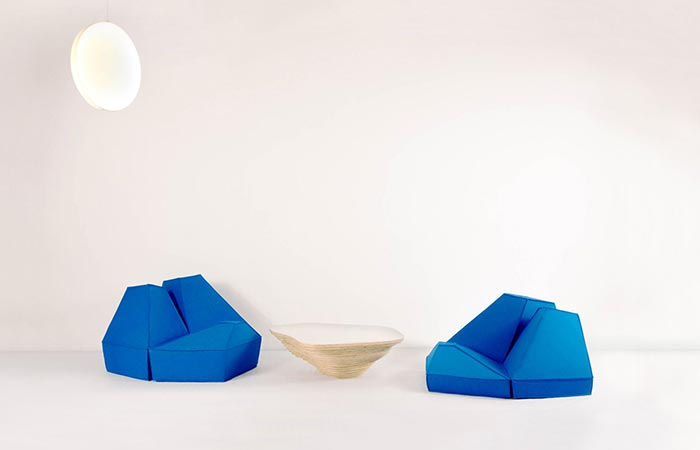 Two blue chairs made of Les Angles furniture.