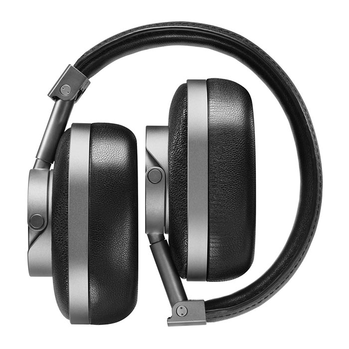 Folded headphones captured from the front.