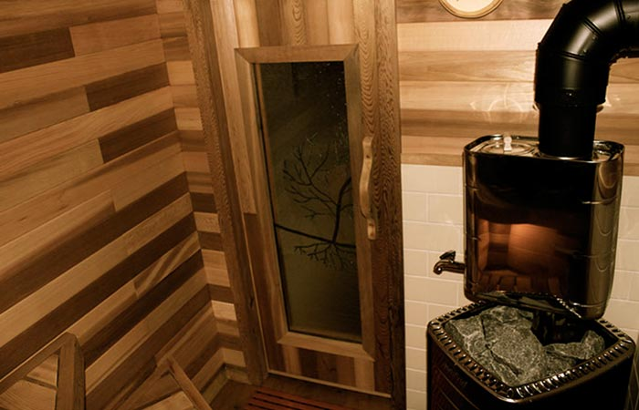 The inside of the sauna.