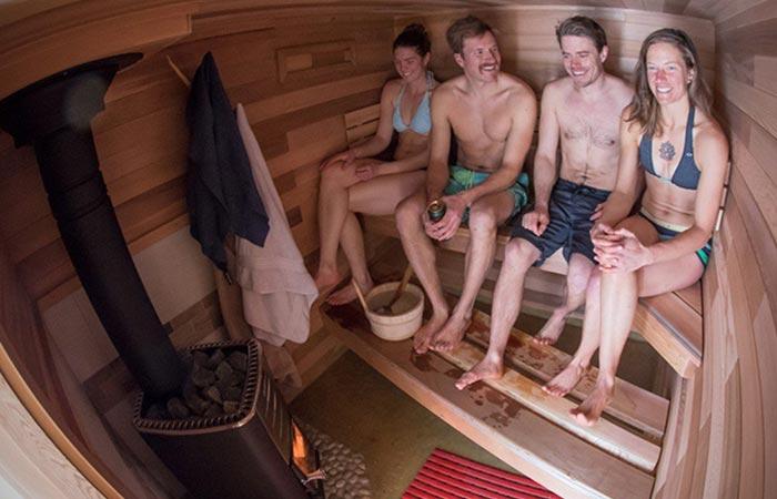 People enjoying the sauna together.