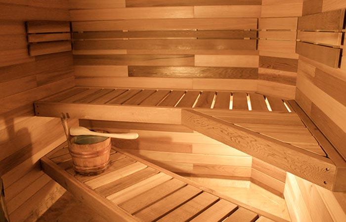 The interior of the sauna.