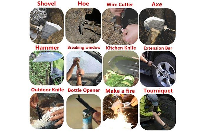 Different purposes for Multi-function Folding Shovel