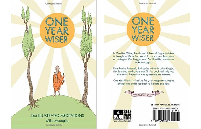 One Year Wiser - 365 Illustrated Meditations book cover, front and back, on a white background.