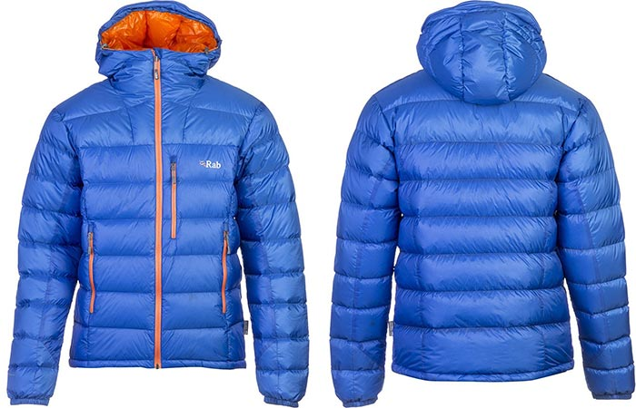 Rab Infinity Endurance Jacket, blue, front and back view, on a white background.
