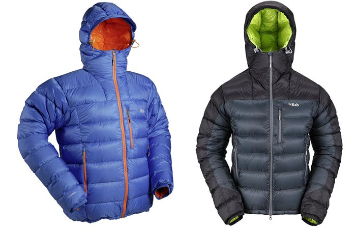 Rab Infinity Endurance Jackets, blue, tilted and black, front view, on a white background.