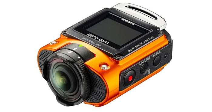 An orange camera captured from an angle.