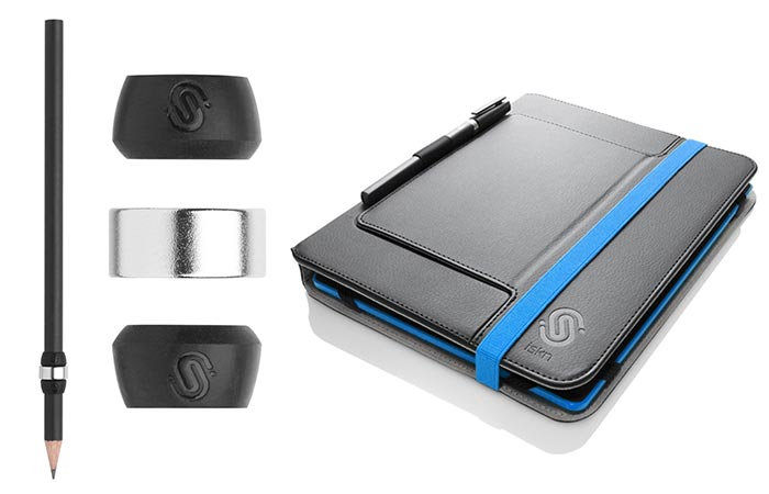 The Slate - Smart Drawing Pad in the protective case with a pen and the ring add-on on the left, on a white background.