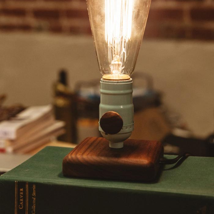 The lamp captured on the table.