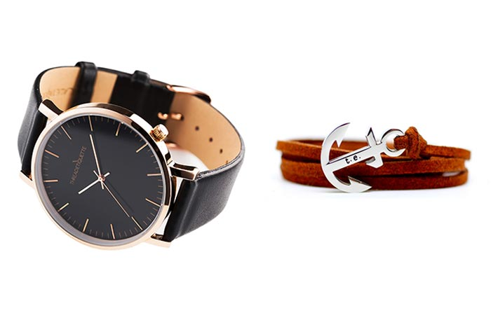 Thread Etiquette Classic – Rose Gold / Black Leather Timepiece and Chestnut Leather Anchor Bracelet tilted and folded on a white background.