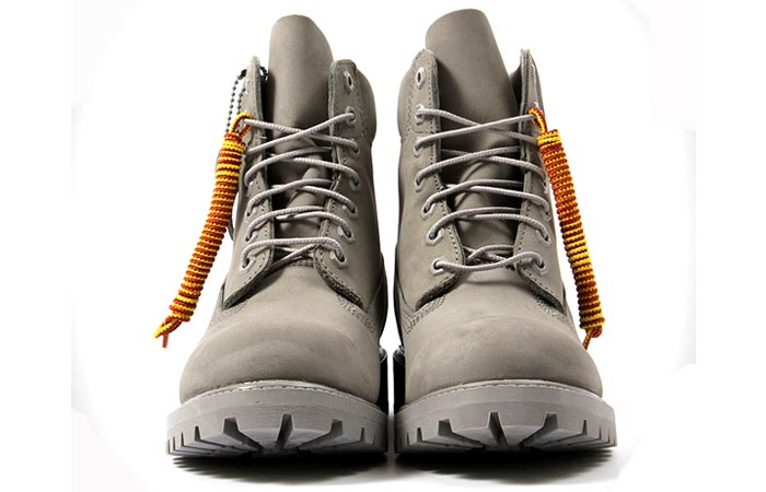 Timberland 6 inch Mono Grey Boots, front view, on a white background.