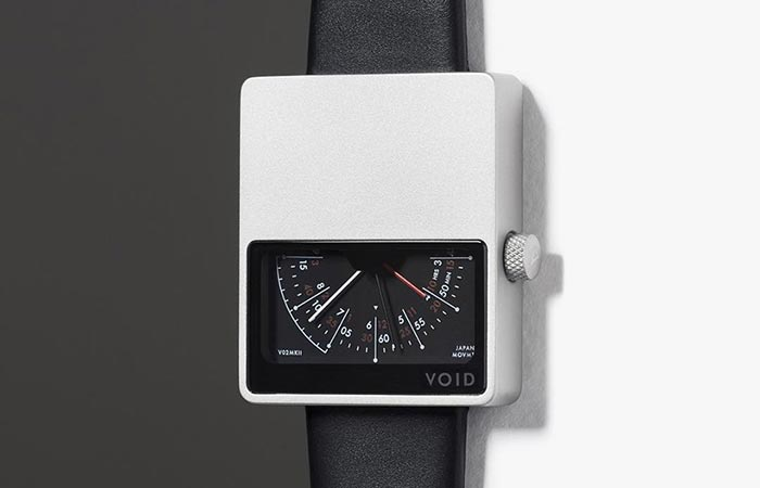 Void VO2 Mark II Watch, silver with black leather strap in a black and white background.