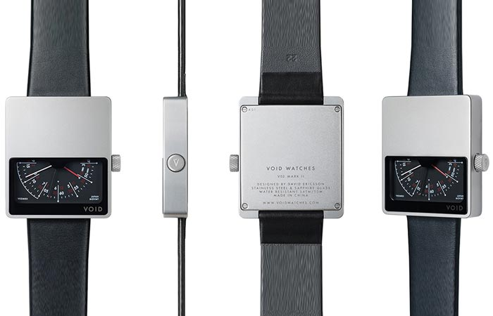 Void VO2 Mark II Watch, silver with black leather strap, front, side, back and tilted view on a white background.