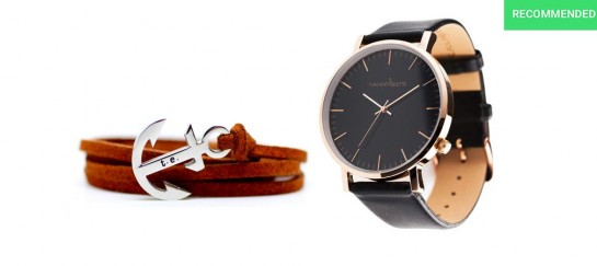 Rose Gold / Black Leather Timepiece and Chestnut Leather Anchor Bracelet | By Thread Etiquette