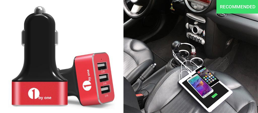 1Byone 7.2A / 36W 3-Port USB Car Charger With Smart IC Chip