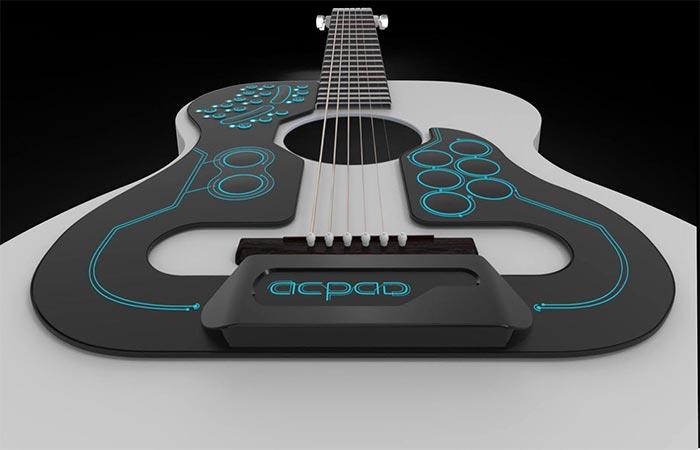ACPAD Midi Controller On A White Guitar