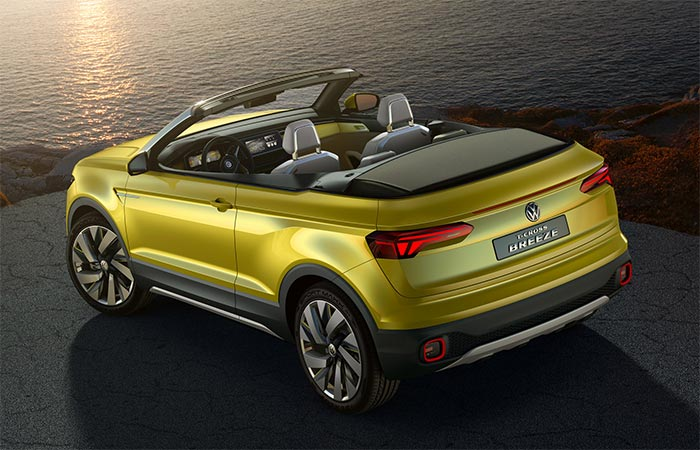 The Back Of The Volkswagen T-Cross Breeze Convertible SUV