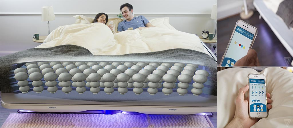 Balluga Smart Bed featuring smartphone application views