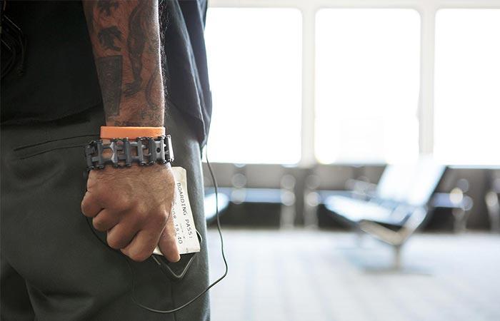 A Guy Wearing Leatherman Tread Bracelet