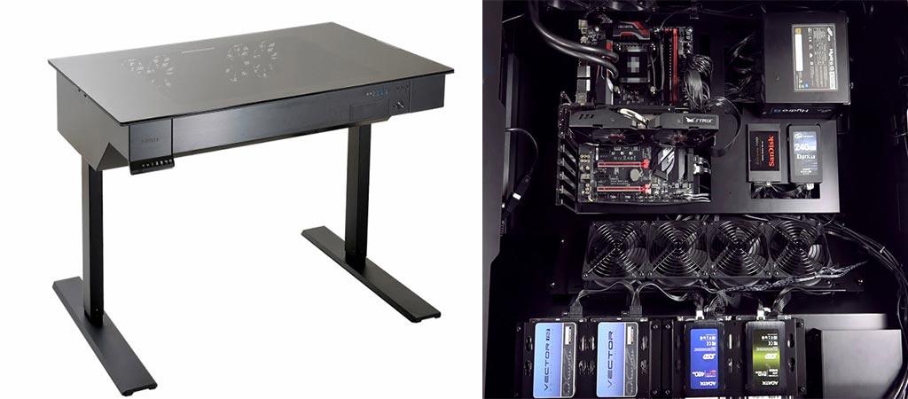 Lian-Li DK-04 desk and internal demo components
