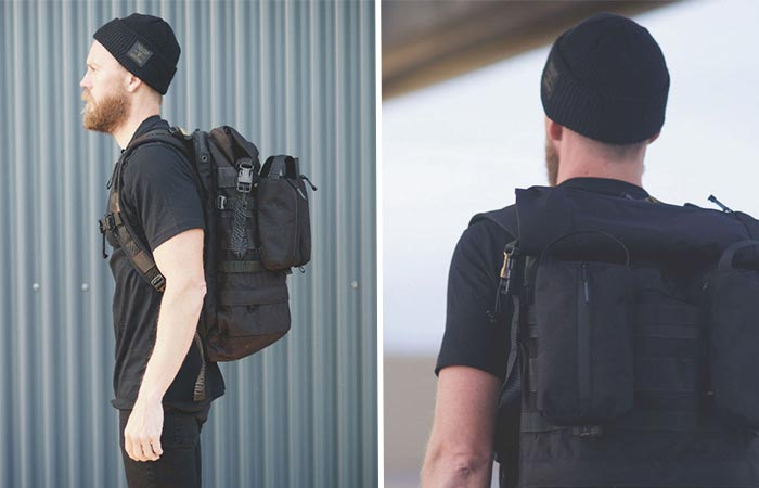 Two Images Of A Guy Wearing Recon Pack