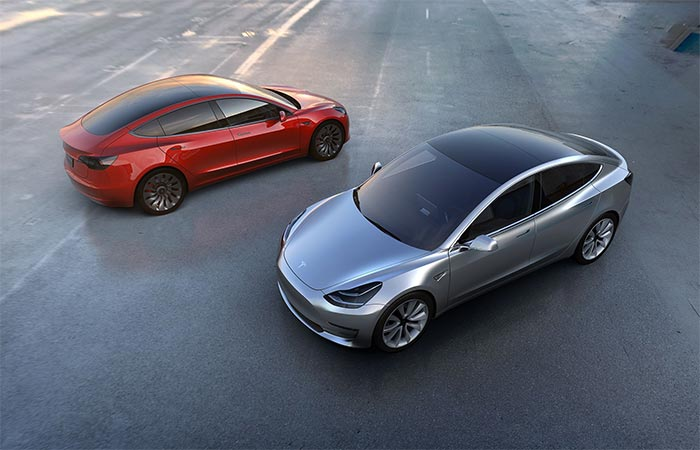 Grey And Red Tesla Model 3