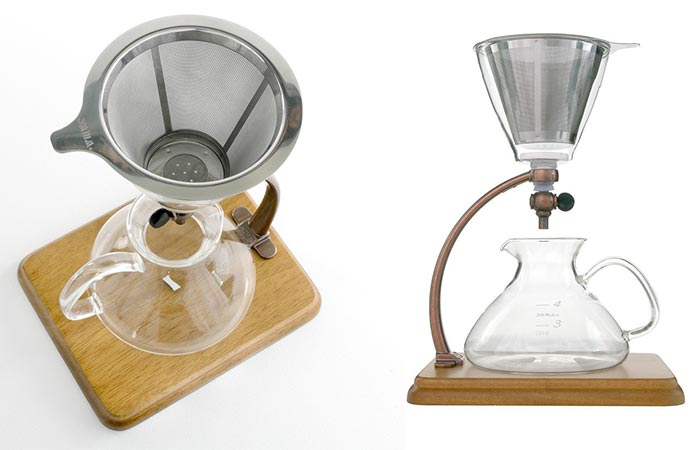 Two Images Of Yama Silverton Coffee Dripper