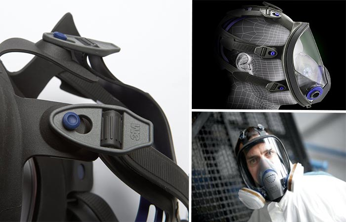 Three images of 3M Ultimate FX Full Facepiece Reusable Respirator