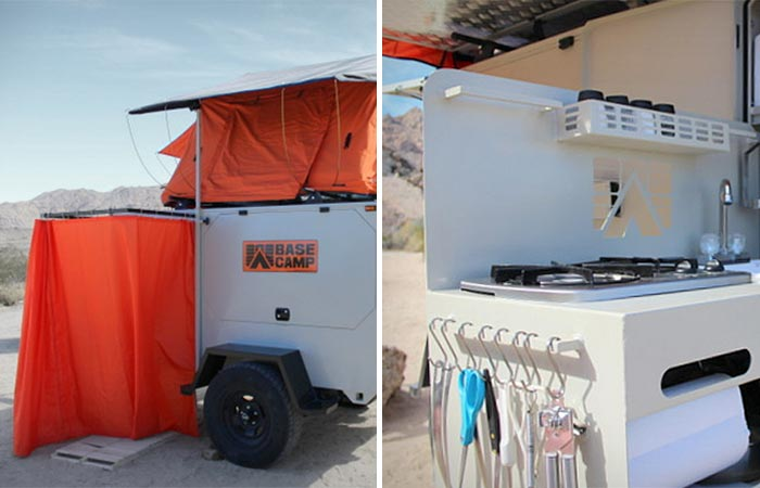 Shower and Kitchen In Base Camp Trailer